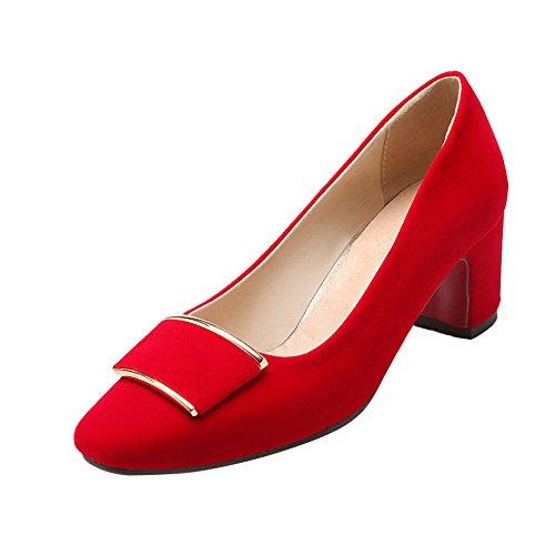 Chunky Fashion Charm Dress Red Foot Pumps Comfortable Womens Heel xIIAPECqw