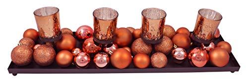 Centro de Mesa de Navidad. Contiene un Juego de 4 Velas Decoradas con 40 Bolas para Adornar una Mesa. 53 x 14,5 cm