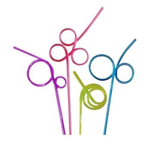 Pack of 8 Curly or Wiggley Drinking Straws Assorted Colours Funny Shapes