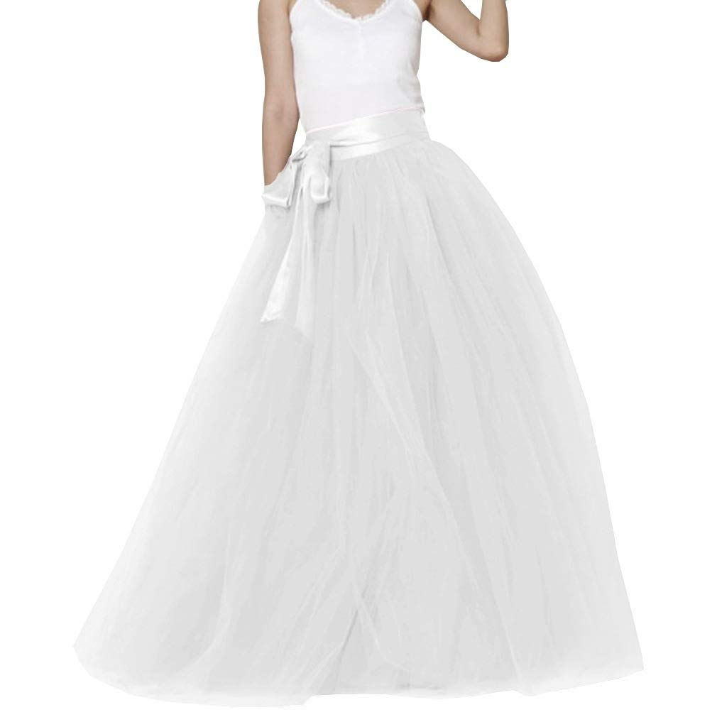 White Lisong Women Floor Length Bowknot 5Layered Tulle Party Evening Tutu Skirt
