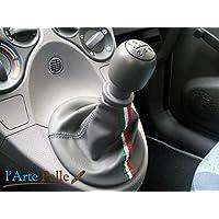 Cuffia cambio Fiat Panda in pelle grigia e tricolore