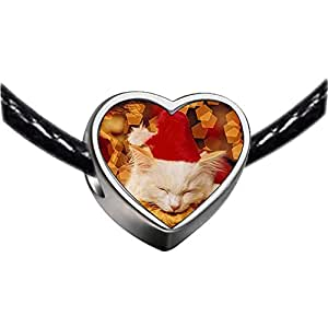 Chicforest Silver Plated Wearing red a Santa Hat cat Photo Heart Charm Beads Fits Pandora Charms