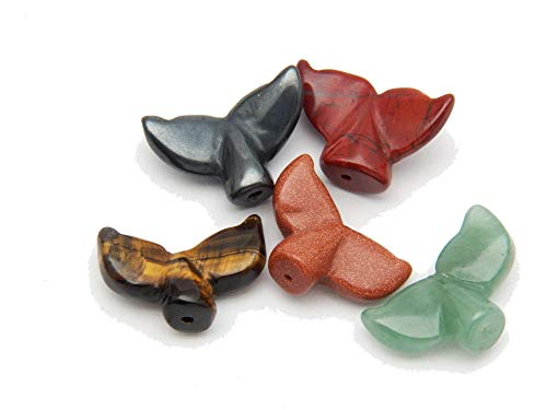 (Fundamental Rockhound Products: 5 (Five) Hand Carved Whale Tail Beads Mixed Stones Real Gemstone Crystals)