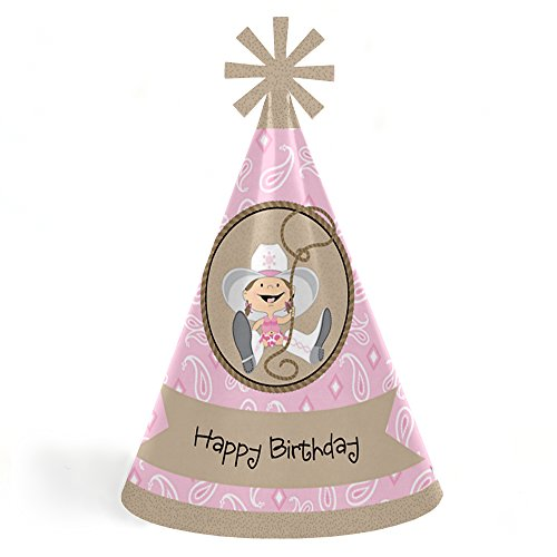 Little Cowgirl - Western Cone Happy Birthday Party Hats for Kids and Adults - Set of 8 (Standard Size) by Big Dot of Happiness