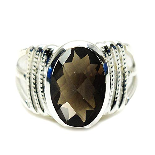 55Carat Choose Your Color Genuine Oval Gemstone Sterling Silver Bold Band Rings Handcrafted Sizes 5-13 (Faceted Oval Smoky Quartz Ring)