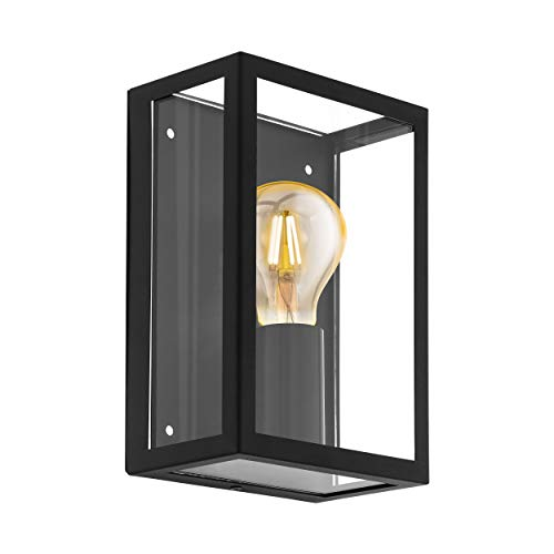 EGLO buitenwandlamp ALAMONTE 1, 1 lichtbron buitenlamp, verzinkt stalen wandarmatuur, kleur: zwart, glas: helder…