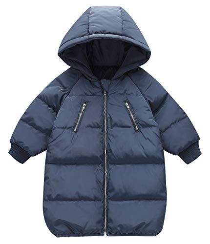 - Happy Cherry Boys Girls Lightweight Down Jacket Long Over Coat Puffer Hoodied Warm Thick Coat Clothes 130cm Dark Blue