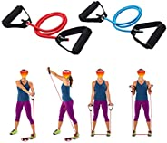 WSERE 2 Pieces Workout Exercise Resistance Bands with Handles for Women Men Home Fitness, Strength Training, M