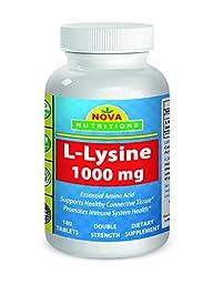 Nova Nutritions L-Lysine 1000 mg - 180 Tablets