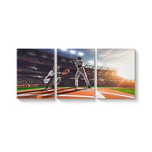 Rocking Giraffe 3 Panels Canvas Prints Wall Art Baseball Game Stadium Sunset Paintings Printed Pictures Modern Art Home Decor Stretched and Framed Ready to Hang for Living Room -