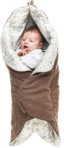 Wallaboo Baby Blanket Leaf, Soft Blanket, Newborn and Up, Durable Faux Suede and 100% Pure Cotton with Print, Brown -  WWC.0609.1202