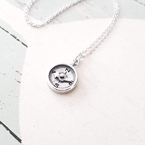Sterling Silver Oxidized Compass Charm - Sterling Oxidized Necklace