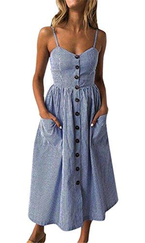 Summer Striped Dresses for Women Spaghetti Strap Midi Button Down Swing Dress Medium 25-Deep Blue ()