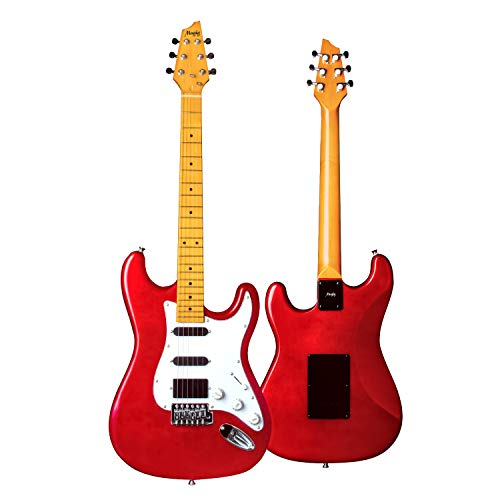 Mugig Electric Guitar, 39 Inches, ST Type Electric Guitar, with One 10ft Guitar Cable, Two Single-coil, and One Humbucker Pickups, Glossy Surface Paint, Poplar Body and Maple Fingerboard - Flaming Red