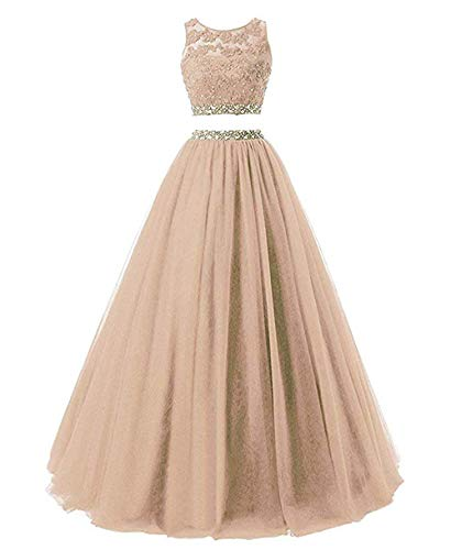 New Senior Ball Dress Long Beaded Floor Length Two Piece Bridal Reception Dress Champagne,16Plus