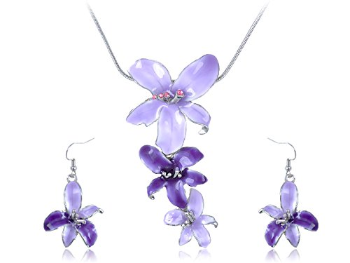 Alilang Silvery Tone Pink Rhinestones Purple Hawaiian Flower Necklace Earrings Set - Vintage Costume Jewelry Making Supplies