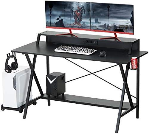 Sedeta Gaming Desk, 55 Gaming Table, E-Sports Computer Desk, Gaming Workstation Desk, PC Stand Shelf Power Strip with USB Cup Holder Headphone Hook Large Home Office Gamer Desk Writing Table, Black