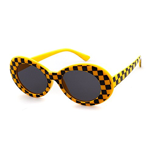 Clout Goggles Oval Sunglasses Mod Style Retro Thick Frame Kurt Cobain Inspired Sunglasses With Round Lens Vintage (Yellow - Checkered Glasses
