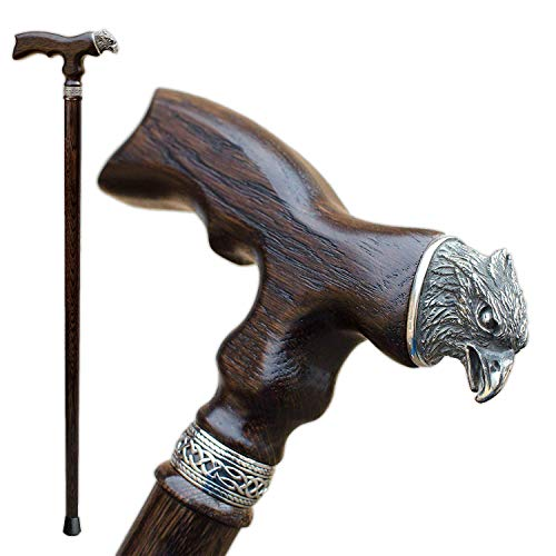 Asterom Fancy Wooden Canes for Men – Eagle – Cool Wood Walking Stick Custom Men's Cane