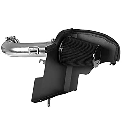 Carpartsinnovate For 11-14 Mustang 5.0L V8 Chrome Cold Air Intake Induction+Heat Shield+Black Filter: Automotive