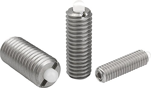 Kipp 03058-AG Stainless Steel Body Spring Plungers, Pin Style, Hexagon Socket, POM Pin, Standard End Pressure, Inch, 8-36 Thread (Pack of 10) by Kipp