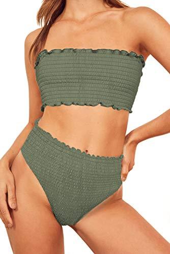 Aleumdr Womens Beach Vocation Floral Print Strapless Push Up High Waist Ladies Bikini Set Swimsuit Two Pieces Bathing Suit Swimwear with Swim Briefs Green Large 12 14 ()