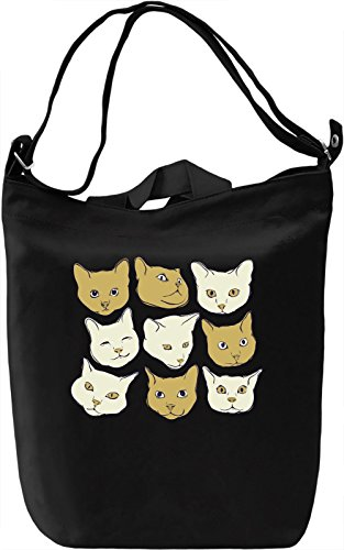 Kitty heads Borsa Giornaliera Canvas Canvas Day Bag| 100% Premium Cotton Canvas| DTG Printing|