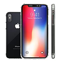ShieldX2 Ultra Thin Transparent All-over Case with tempered glass and Phone Replacement Promise for iPhone X - Clear