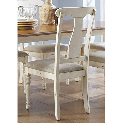 Liberty Furniture Ocean Isle Splat Back Dining Side Chair in Bisque