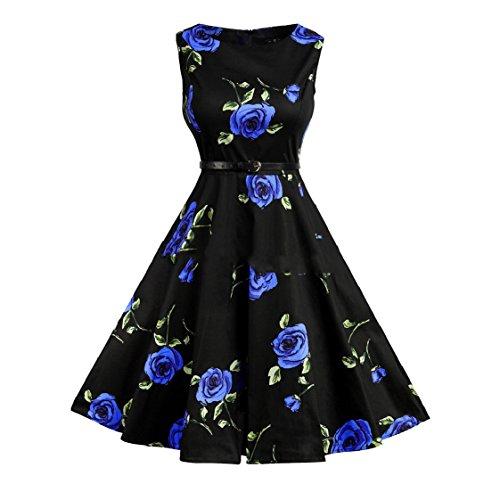 Dimensioni Fiore Della Grandi donne Rockabilly Hepburn Stampa Dall'oscillazione Coolred Vestito Pattern10 Maniche Senza n1WqYtxw0