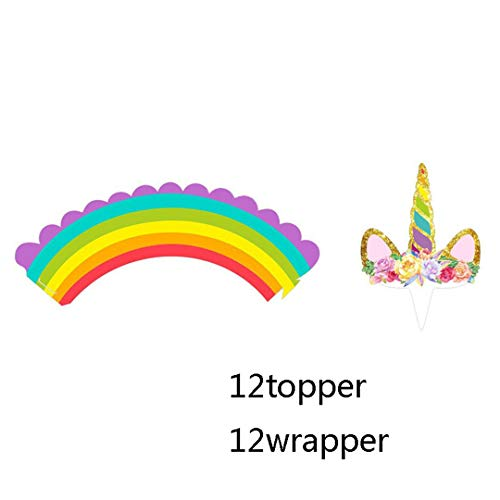 Zpriting Birthday Decoration Unicorn Horse Cupcake Wrappers Cake Topper Kids Birthday Party Supplies Baby Shower Party Cake Decor Rainbow ()
