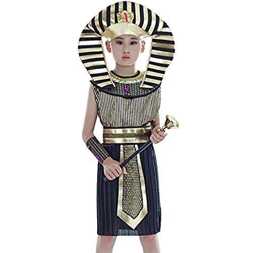 Acecharming Kid Pharaoh Costume Set, Children's Egyptian Role Play Costume(8-10 Years) Black and Gold