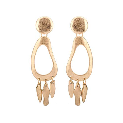 GSYDSZ Fashion Excavating Gold Color Ladies Earrings Large Hoops Earrings Chandelier Pendants India with Metal Tassel Earrings