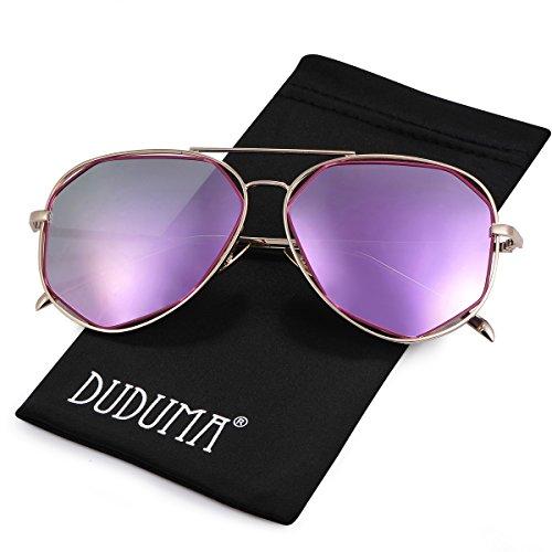 Duduma Polarisiert Pilotenbrille Mode Flieger Aviator Sonnenbrille mit Flache Linse Metallrahmen für Damen und Herren 0713 (Goldrahmen mit Rosa Lila Spiegellinse)