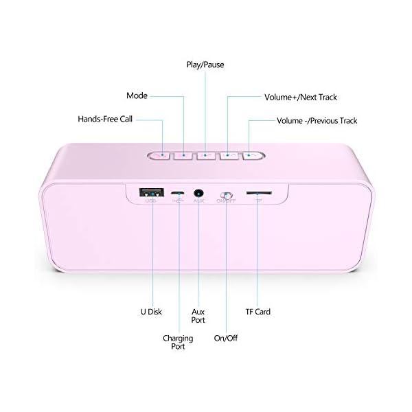 Enceinte Bluetooth 5.0 Portable, Axloie Macaron Haut-Parleur sans Fil HiFi Stéréo avec Microphone Mains Libres Entrée AUX/Clé USB/Carte TF 10 Heures Autonomie pour iOS Android Tablettes etc -Rose 4