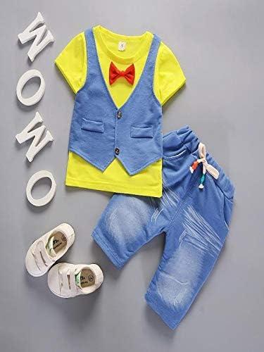 Baby Junge Bekleidungssets Kleinkind Kinder Baby Jungen Outfits Kurzarm T-Shirt Lange Hose Gentleman Kleidung Set Neugeborenen Kids Fake Zwei St/ücke Sommer Tops Pulli und Pants Set