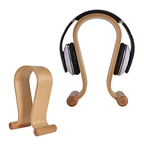 SAMDI Headset Stand Wood, Simple New Bee Earphone Stand, Holder, Mount with Wood Supporting Bar for All Headphones Size (Omega Walnut)