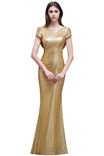 - Backless Sequined Mermaid Bridesmaid Dresses Cap Sleeve Prom Evening Gowns for Women Long Gold 6