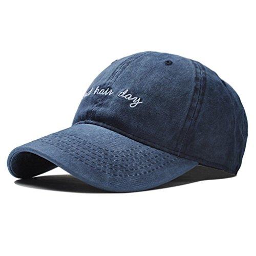 Vintage Embroidery Baseball Cap Hat - Washed Cotton Distressed Bad Hair Day Printed Dad Sport Hat Unisex Adjustable Strapback (Blue) ()