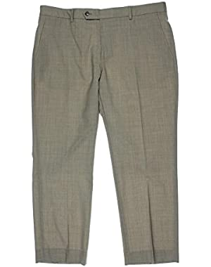 Tan Textured Flat Front New Men's Finished Dress Pants