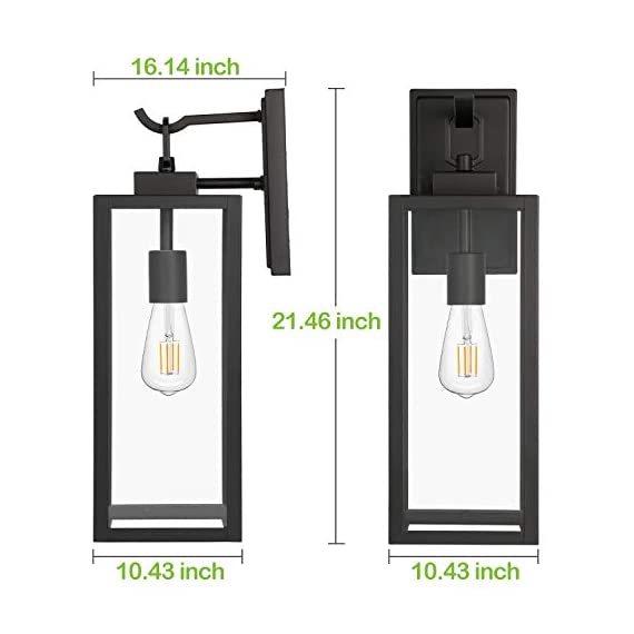 Hykolity Outdoor Wall Lantern with ST19 LED Bulb,2700K,60W Equivalent, Matte Black Wall Light Fixtures, Architectural Wall Sconce with Clear Glass Shade for Entryway, Porch, Doorway, ETL Listed,2 Pack - ✔ WONDERFUL AMBIENT LIGHTING - This wall sconce lighting is decorative wall-mounted fixture that provides a beautiful light for entryway, doorway, foyer, corridor, balcony, patio and porch. ✔ OUTDOOR WEATHER RESISTANT - Our wall sconces with heavy-duty rugged metal construction and clear glass panels, ideal for any outdoor environment. ✔ ONLY 3 STEP INSTALLATION - Attach the cross bar to the junction box, connect the wires and then fasten this wall light to the cross bar. - patio, outdoor-lights, outdoor-decor - 41OtYjF3WtL. SS570  -
