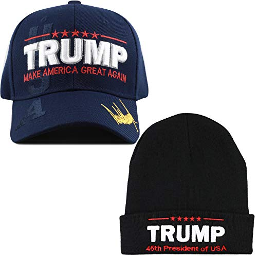THE HAT DEPOT Exclusive 45th President Make America Great Again 3D Signature Cap (Set7- Navy Cap and Black Beanie)