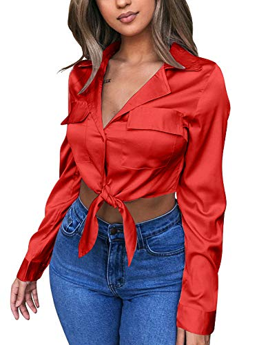 GOBLES Womens Sexy Long Sleeve Blouses V Neck Tie Knot Tops Button Up Shirts Red