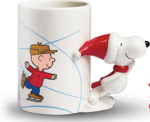 (Peanuts Snoopy and Charlie Brown Ceramic Christmas Skating Mug - 18)