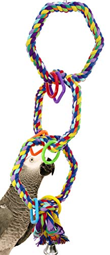 1094 Triple Hex Rope Swing Bonka Bird Toys Cotton Colorful Climbable Parrot Budgie Cockatoo Macaw