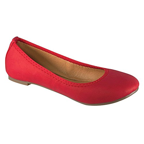 Angelina Womens Classic Vegan Leather Lightweight Comfort Ballet Flat Red N1CUSw4Y9
