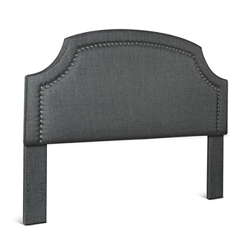 Fabric Linen Padded Upholstered Notched Headboard for Queen / Full Size Bed Nailhead Trim Accent Tufted by Elegá Life - Slate Grey (Studded Headboard Nail)