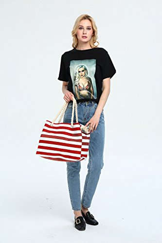 Bag Cotton and Red for Shoulder Stripe Tote Holiday Shopping with Rope Bag Canvas Beach Bag RED Handle Summer 38cmx28cm Ladies Travel Oversize w1XqOSawv