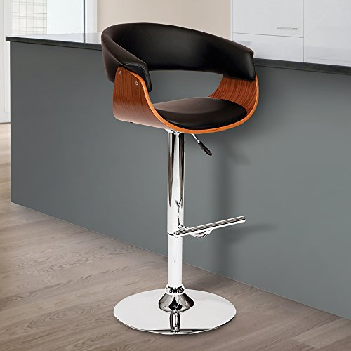 Paris Bar Chair - Armen Living LCPASWBABLWA Paris Swivel Barstool in Black Faux Leather and Chrome Finish