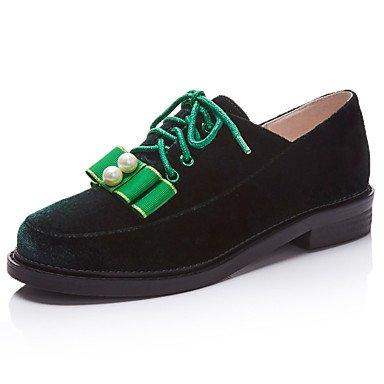 Cómodo y elegante soporte de zapatos de las mujeres pisos primavera verano otoño invierno otros forro polar oficina y carrera vestido casual soporte de talón cordones verde Borgoña granate